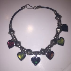 Jewelry - Black Cord Beaded Heart Abalone Shell Bracelet